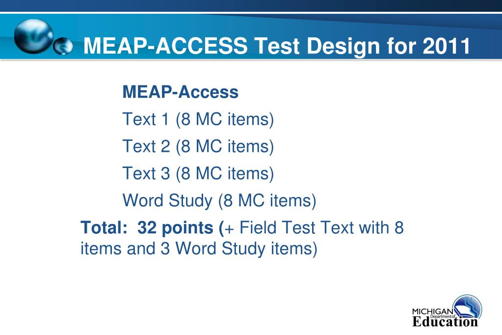 MEAP-ACCESS Test Design for 2011