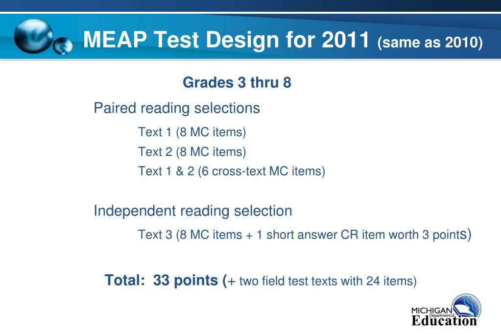 MEAP Test Design for 2011