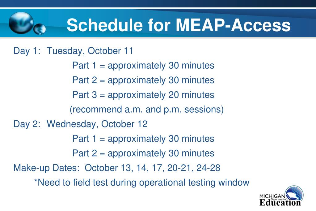 Schedule for MEAP-Access