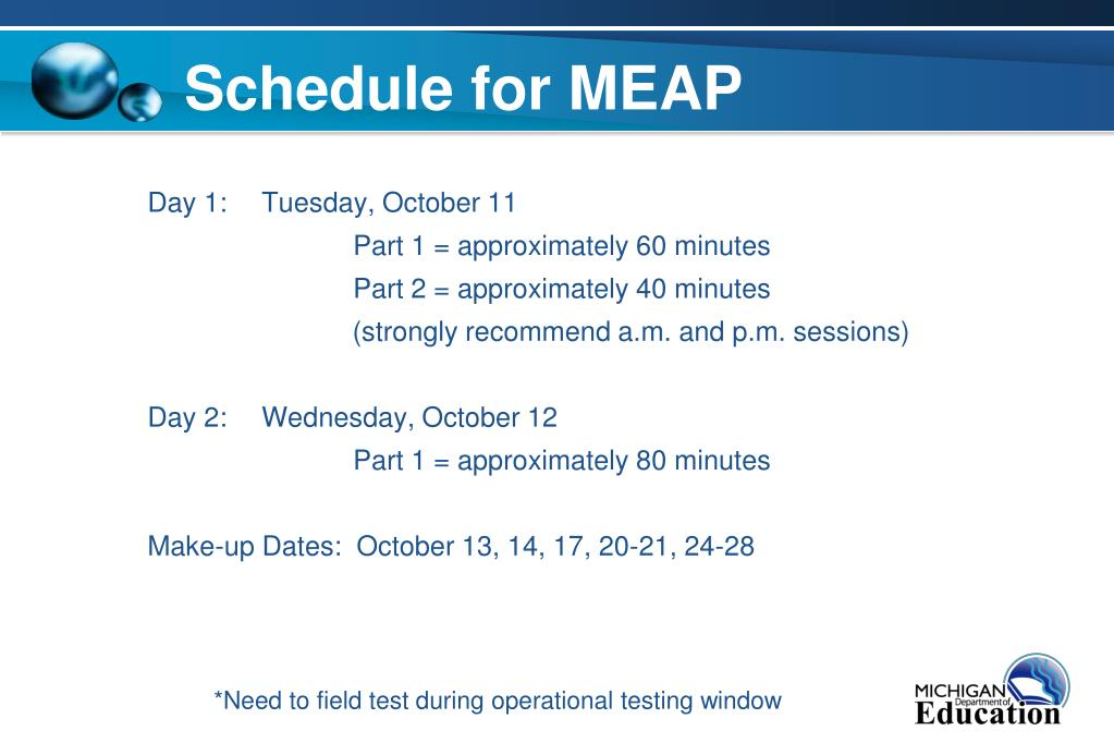 Schedule for MEAP