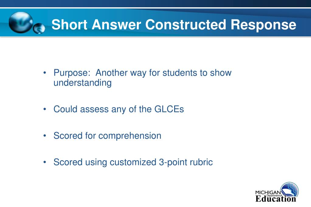 Short Answer Constructed Response