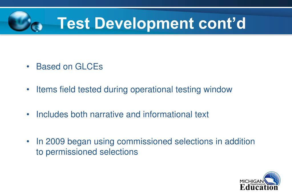 Test Development cont'd