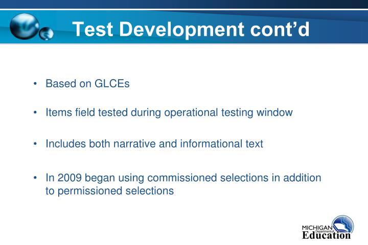 Test development cont d