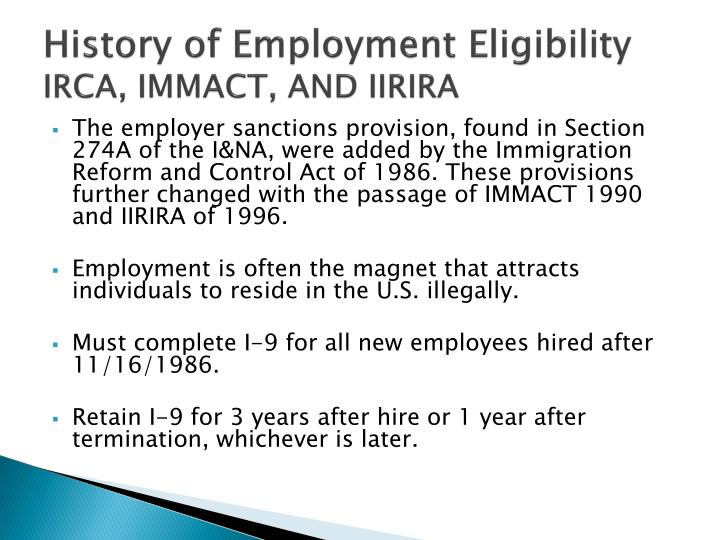 History of employment eligibility irca immact and iirira