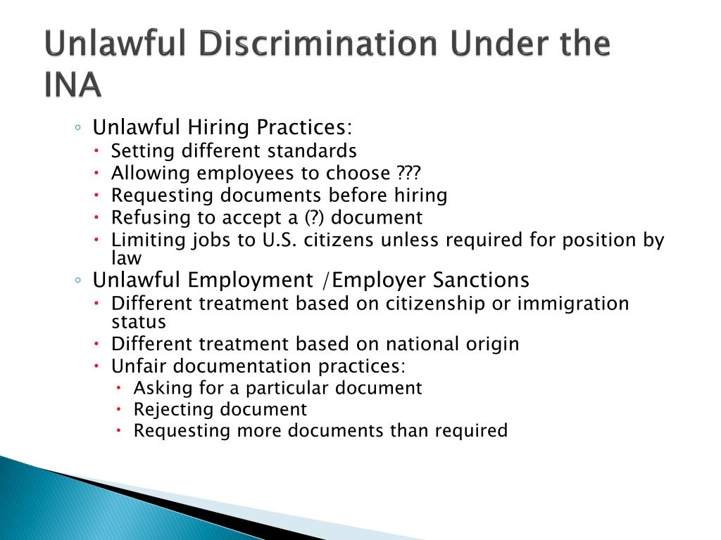 Unlawful Discrimination Under the INA