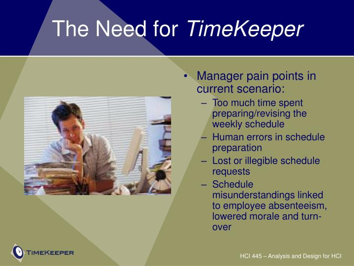 The need for timekeeper