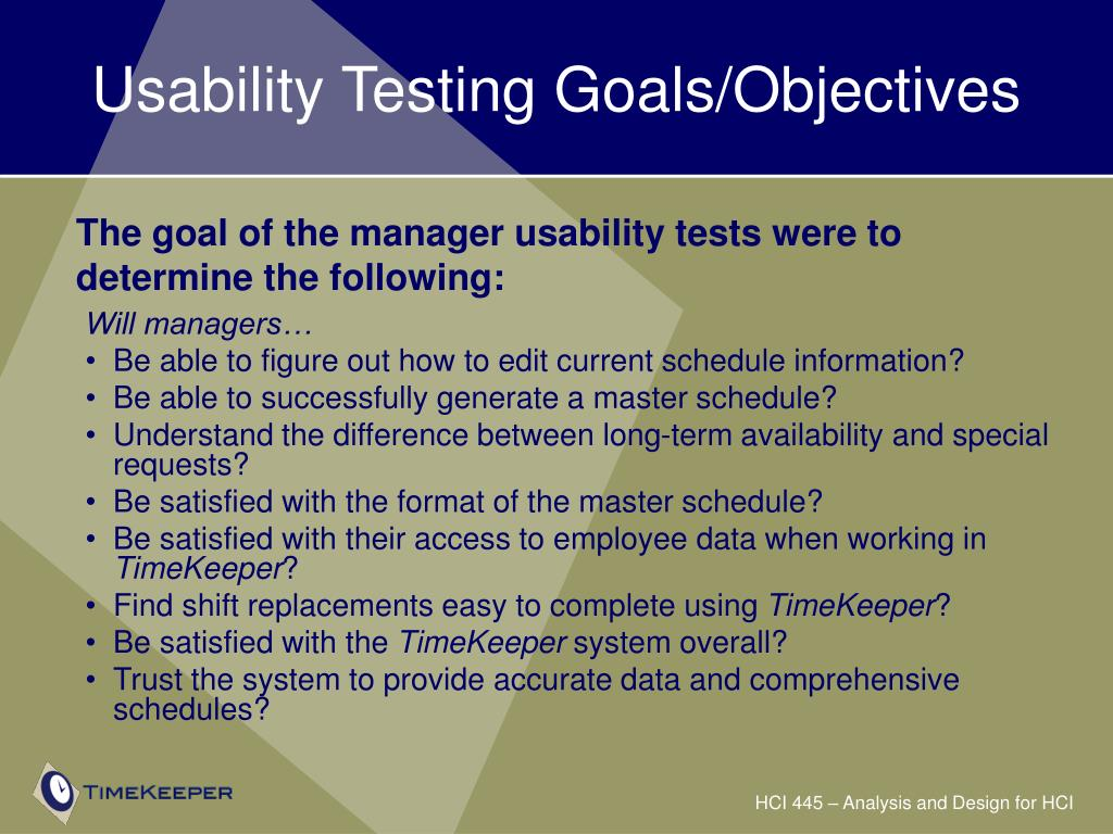 Usability Testing Goals/Objectives