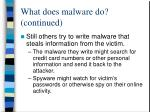 what does malware do continued