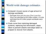 world wide damage estimates