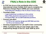 fnal s role in the gde