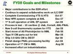fy08 goals and milestones