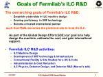 goals of fermilab s ilc r d