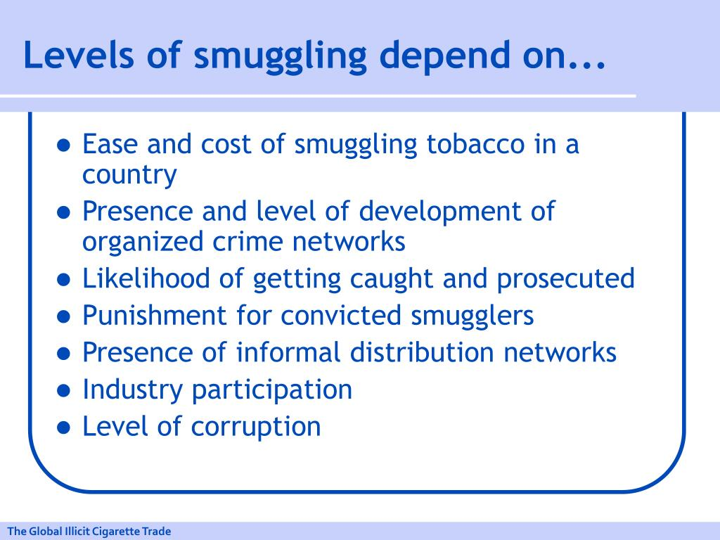 Levels of smuggling depend on...