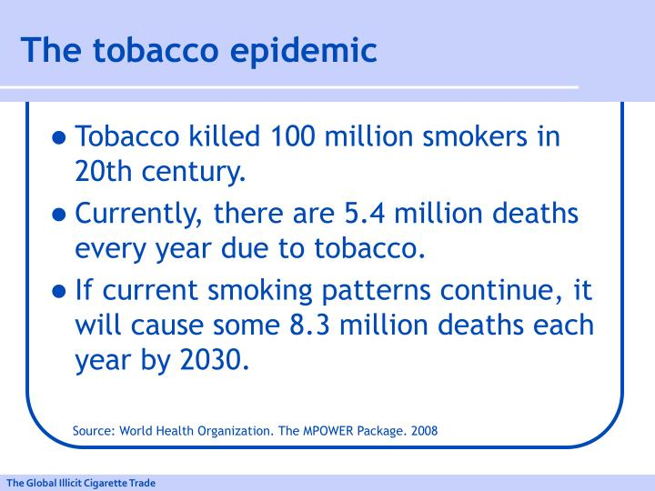 The tobacco epidemic