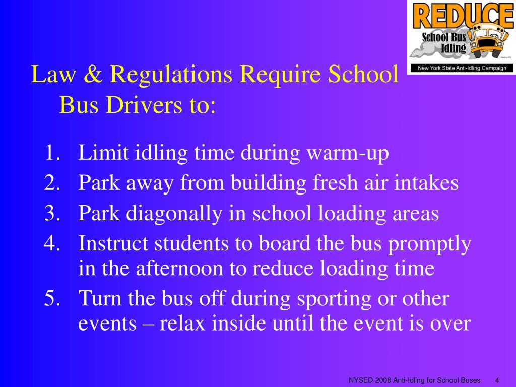 Law & Regulations Require School