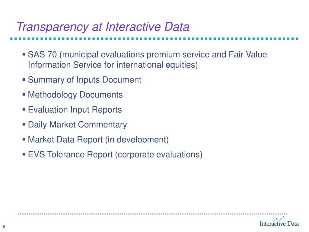 Transparency at Interactive Data