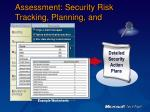 assessment security risk tracking planning and scheduling