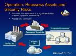 operation reassess assets and security risks