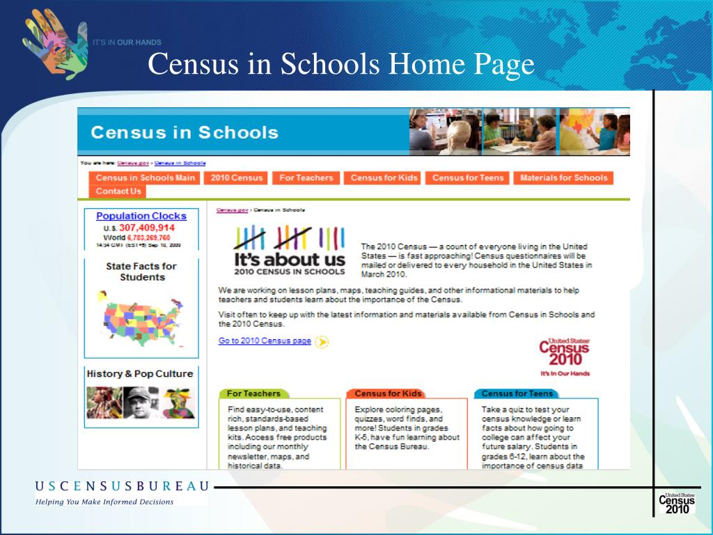 Census in Schools Home Page