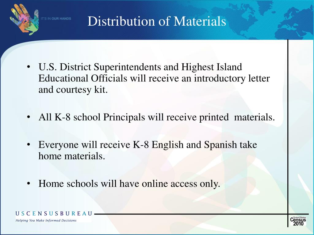 Distribution of Materials