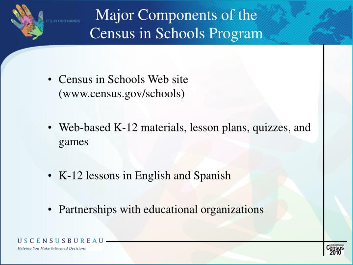 Major components of the census in schools program