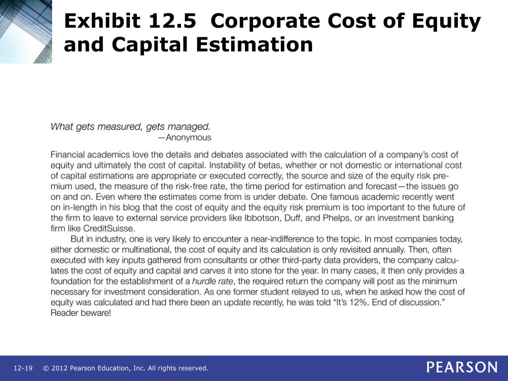 Exhibit 12.5  Corporate Cost of Equity and Capital Estimation