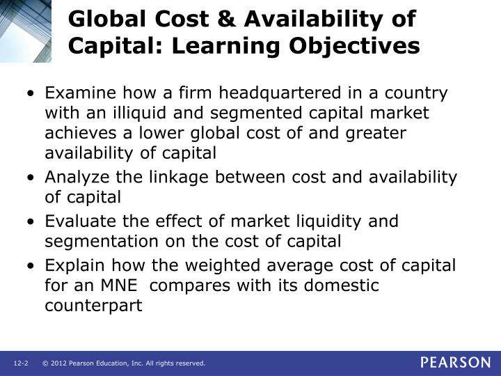 Global cost availability of capital learning objectives