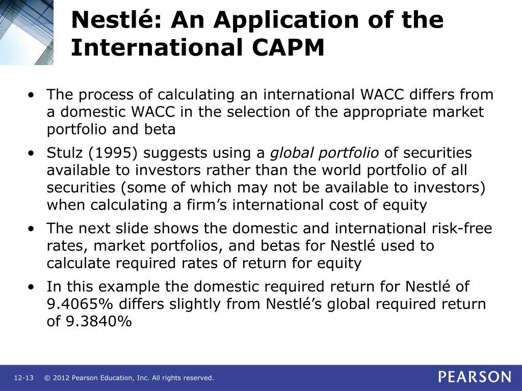 Nestlé: An Application of the International CAPM