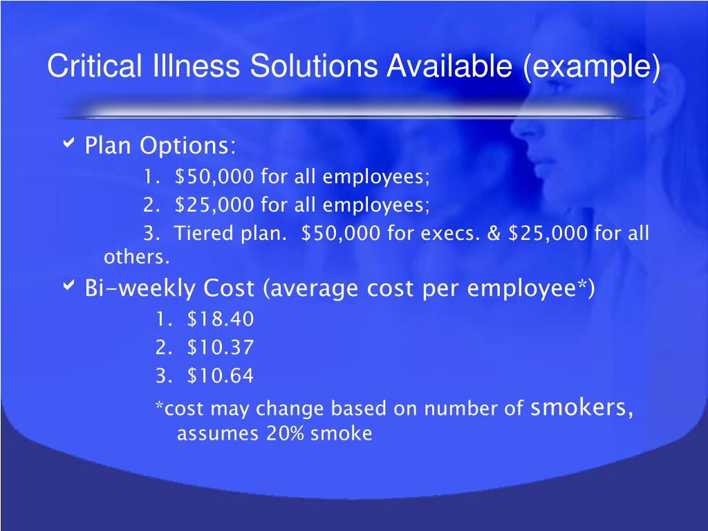 Critical Illness Solutions Available (example)