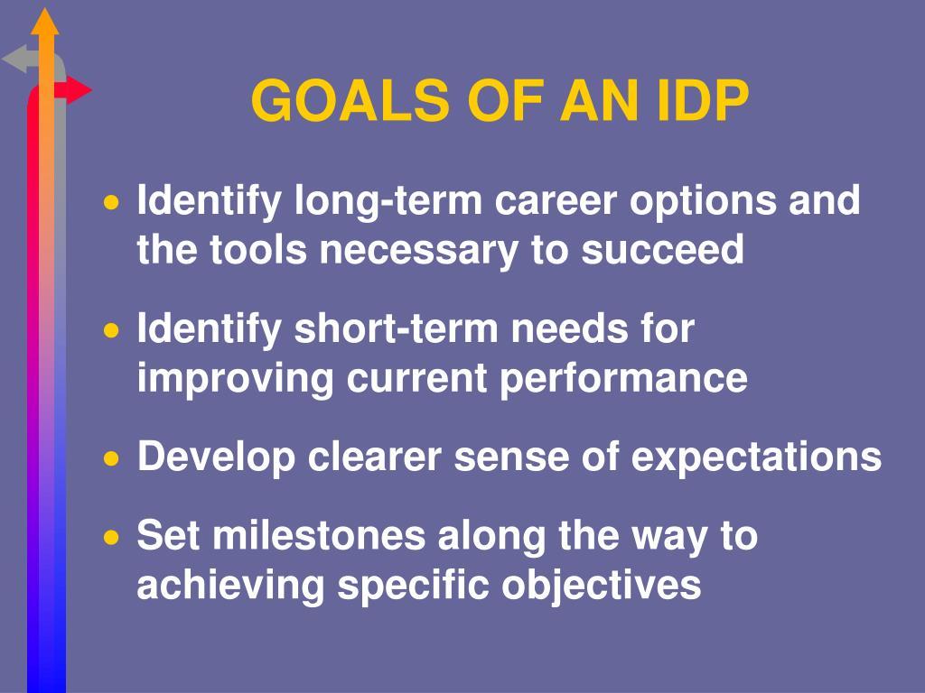 GOALS OF AN IDP