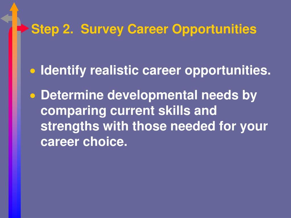 Step 2.  Survey Career Opportunities