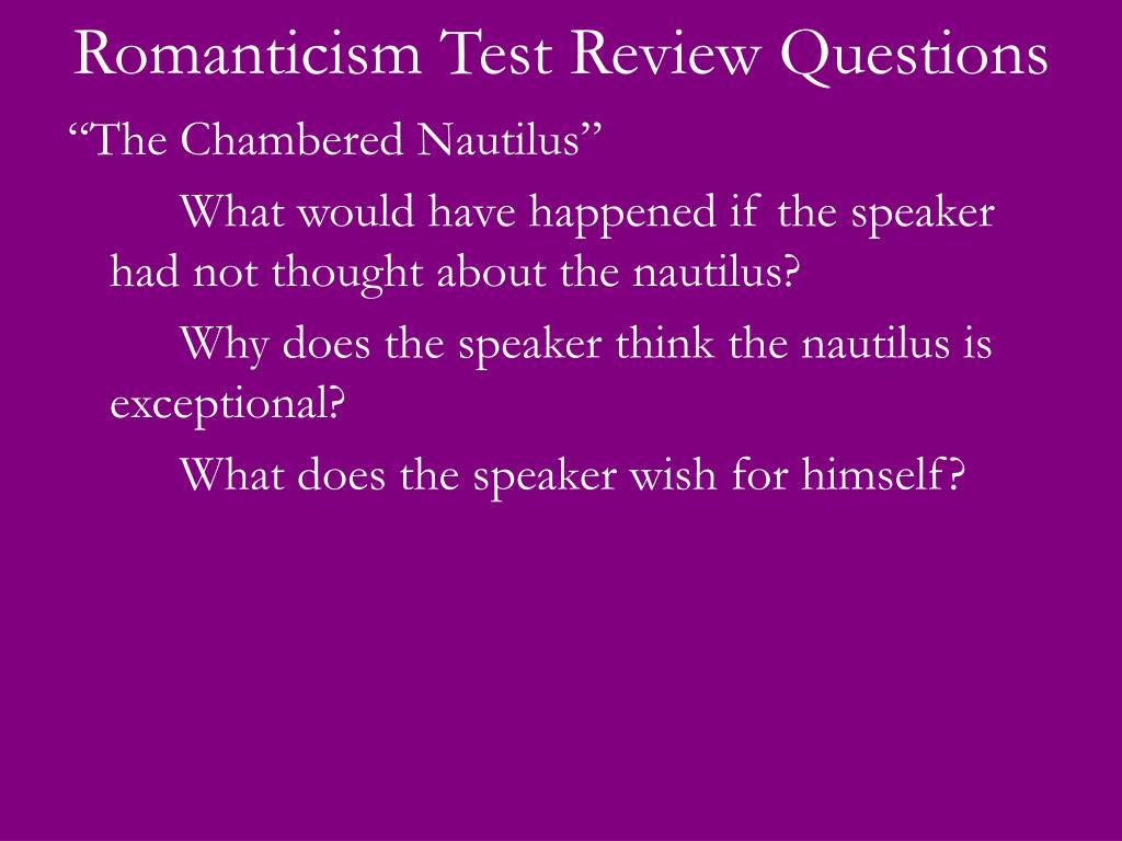 Romanticism Test Review Questions