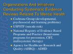 organizations and initiatives conducting systematic evidence reviews related to mental health