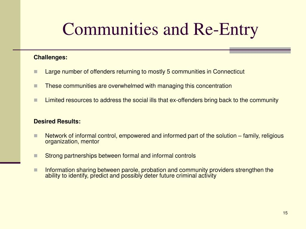Communities and Re-Entry