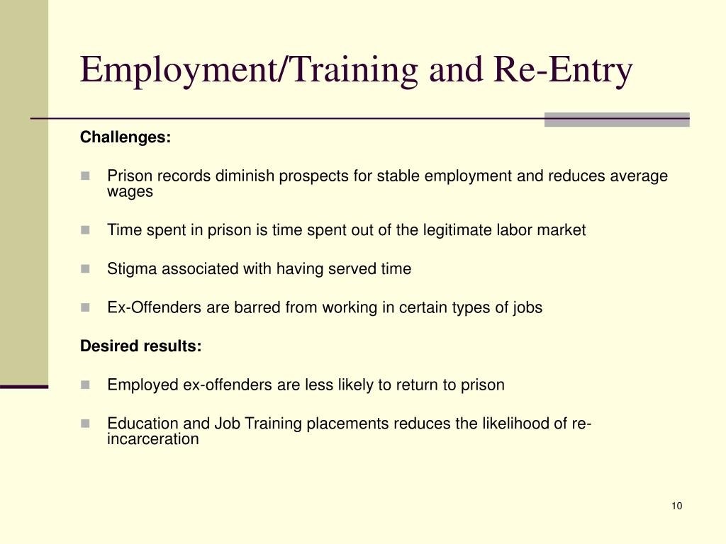 Employment/Training and Re-Entry