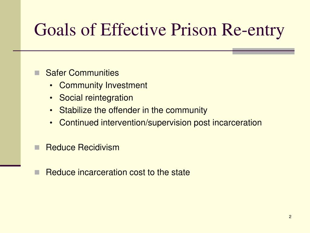 Goals of Effective Prison Re-entry