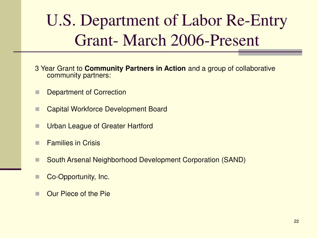 U.S. Department of Labor Re-Entry Grant- March 2006-Present