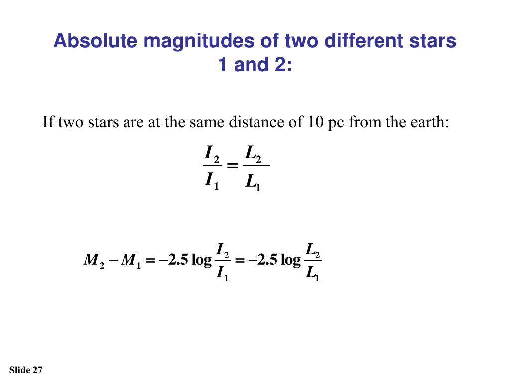 Absolute magnitudes of two different stars 1 and 2: