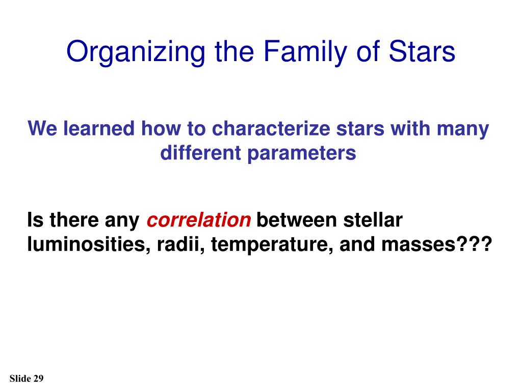 Organizing the Family of Stars