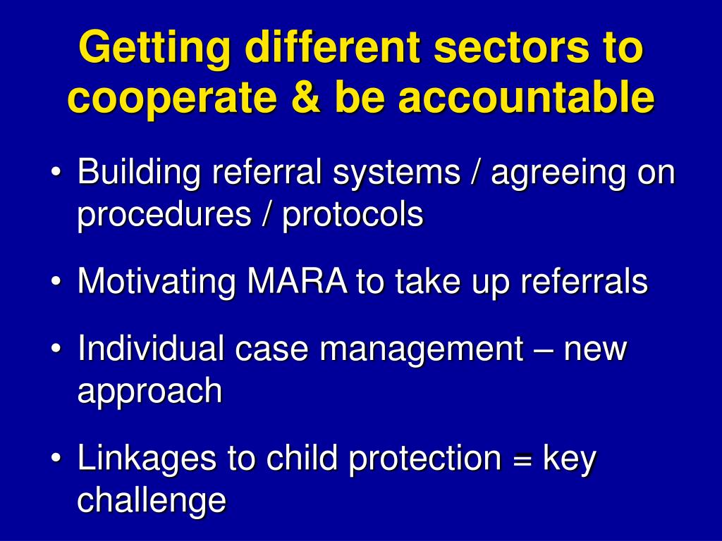 Getting different sectors to cooperate & be accountable