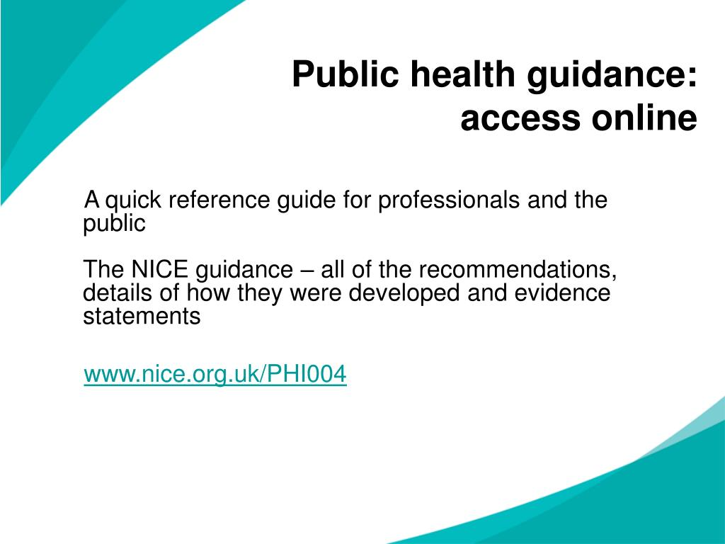 Public health guidance: