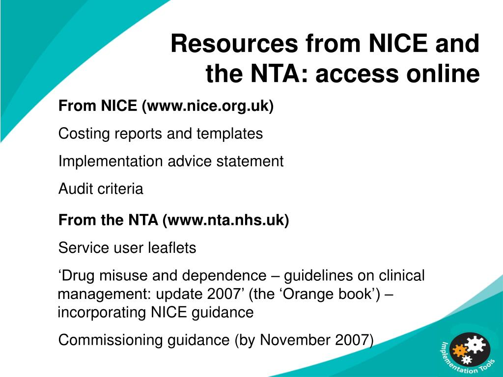 Resources from NICE and the NTA: access online