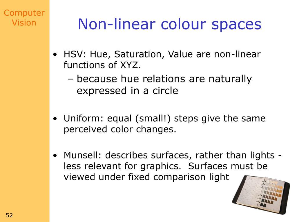Non-linear colour spaces