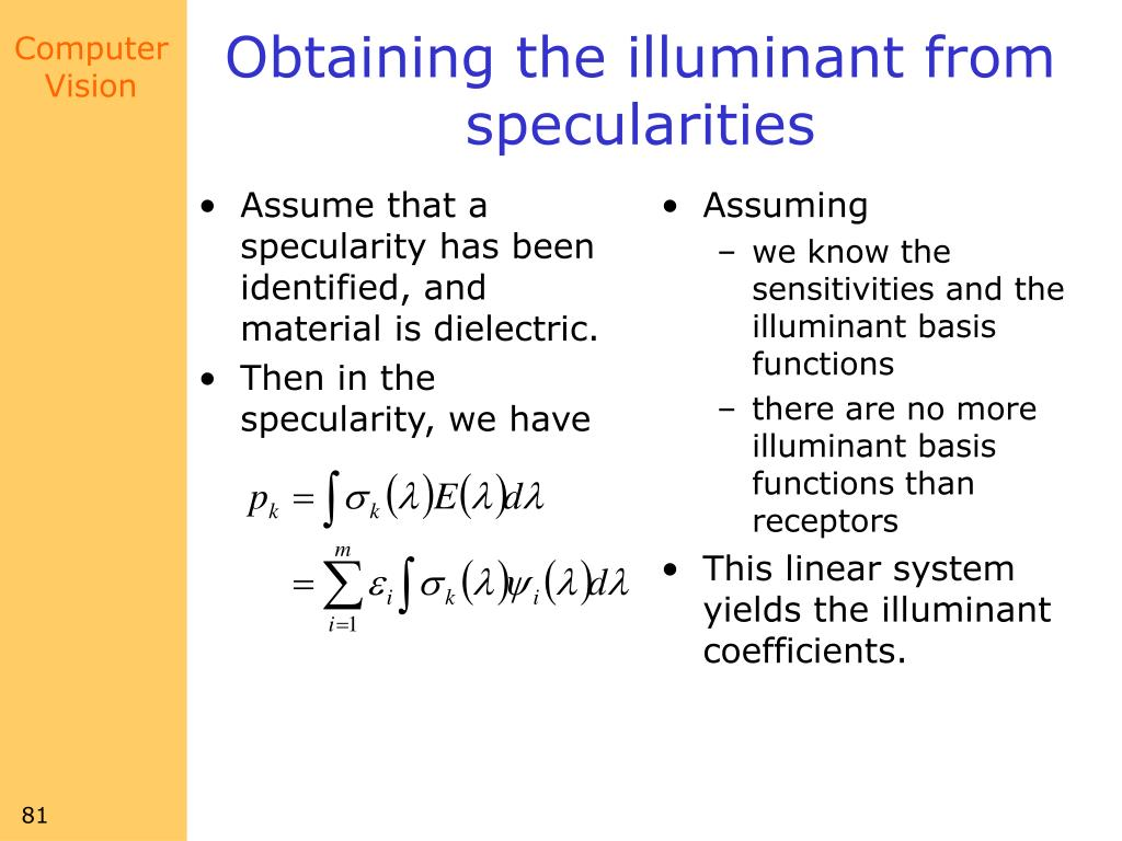 Assume that a specularity has been identified, and material is dielectric.