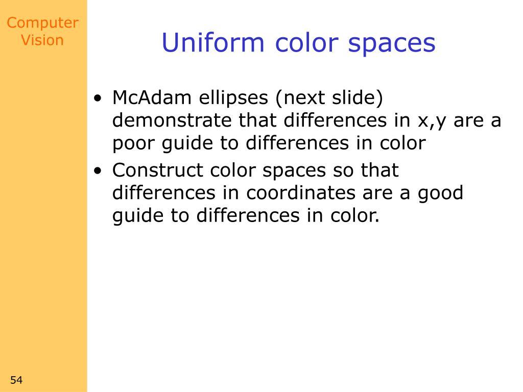 Uniform color spaces