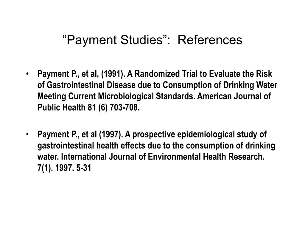 """""""Payment Studies"""":  References"""