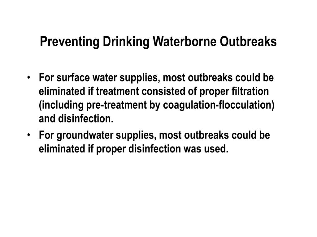 Preventing Drinking Waterborne Outbreaks