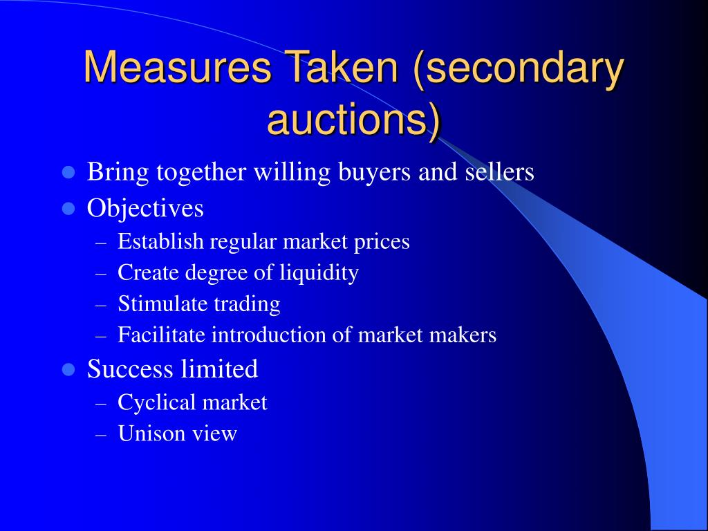 Measures Taken (secondary auctions)