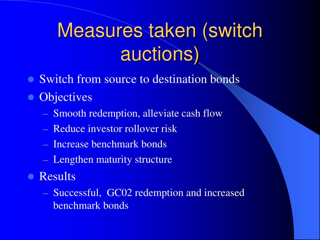Measures taken (switch auctions)