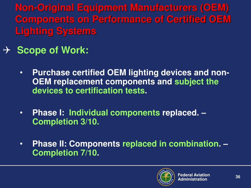 Non-Original Equipment Manufacturers (OEM) Components on Performance of Certified OEM Lighting Systems